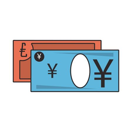 Money yen and euro cash billets isolated vector illustration