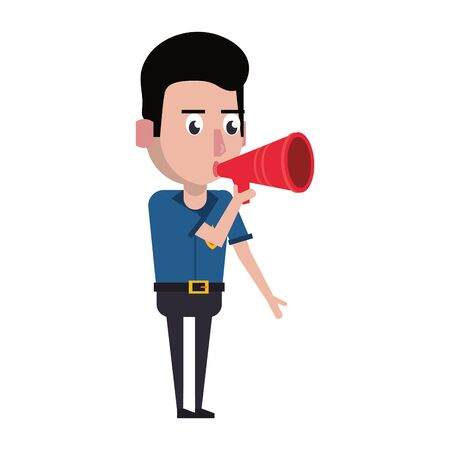 policeman working with bullhorn avatar cartoon character vector illustration graphic design  イラスト・ベクター素材