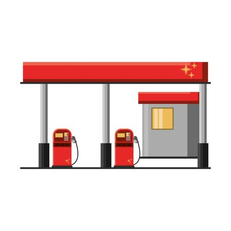 Fuel gasoline station building isolated vector illustration graphic design
