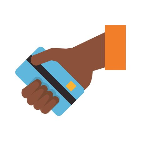 Hand with credit card cartoon isolated vector illustration Illusztráció