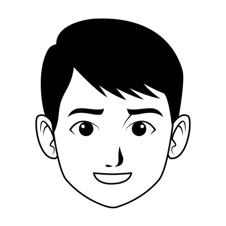 indian young boy face profile picture avatar cartoon character portrait in black and white vector illustration graphic design Illustration