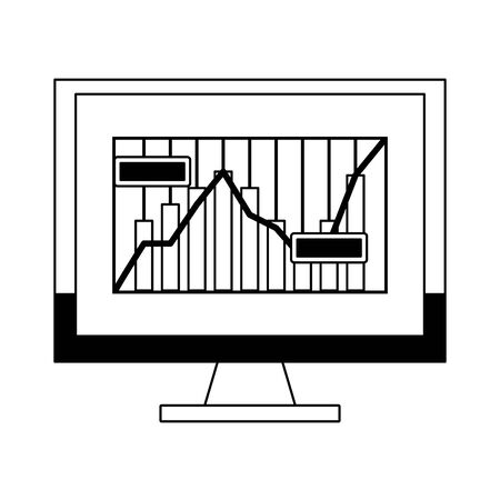 Online stock market investment computer with statistics graph symbols in black and white vector illustration