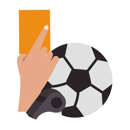 Soccer yellow referee card with ball and whistle sport cartoons vector illustration graphic design