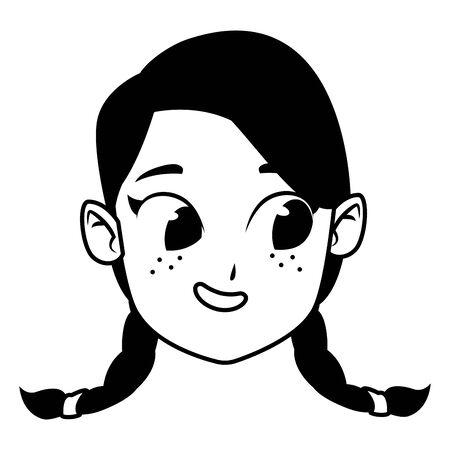 entzückende süße junge Mädchen rothaarige Gesicht mit grünen Augen glückliche Kindheit Cartoon-Vektor-Illustration-Grafik-Design