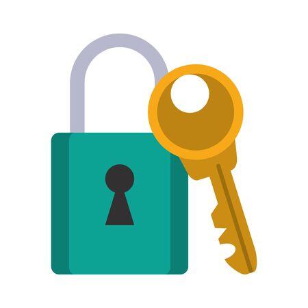 Security padlock and key symbols vector illustration graphic design Illustration