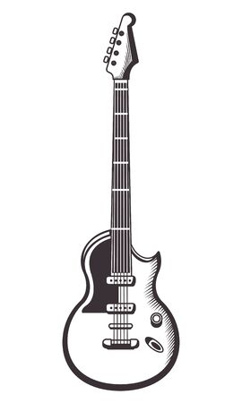 electric guitar drawn in black and white tattoo icon vector illustration graphic design