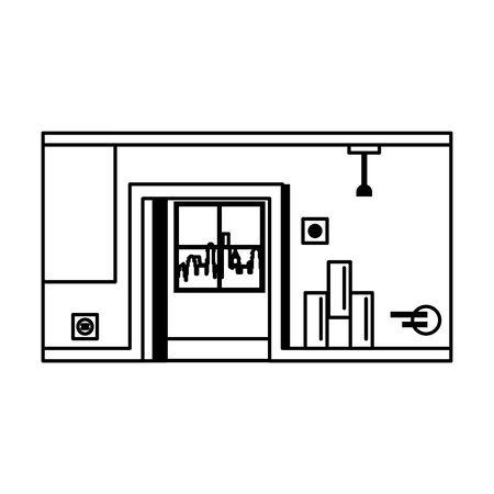 empty interior apartment room scene cartoon vector illustration graphic design