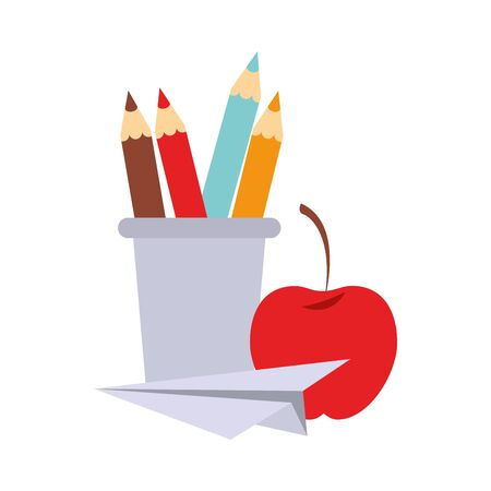 Back to school education pencils in cup with apple and paper plane cartoons vector illustration graphic design