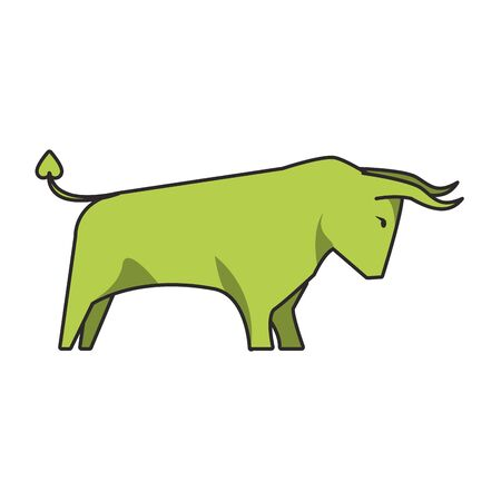 Bull stock market increase symbol isolated vector illustration