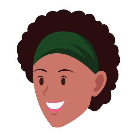 afroamerican woman face wearing a bandana avatar cartoon character vector illustration graphic design