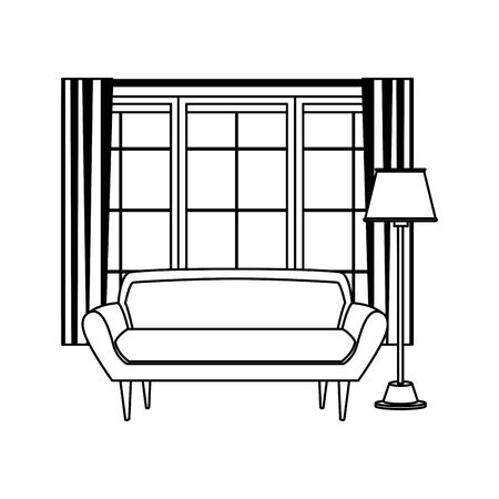 living room window with curtain behind of red couch and floor lamp icon cartoon in black and white vector illustration graphic design Stock Illustratie