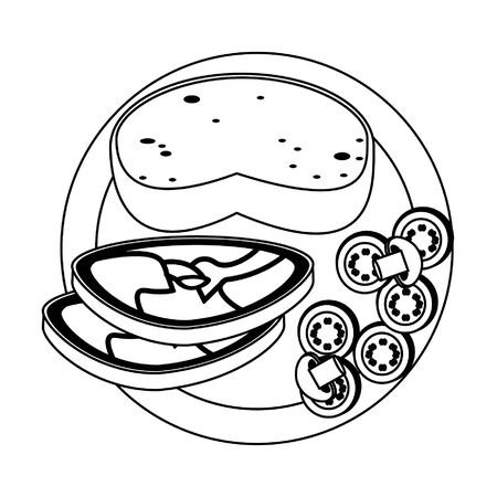 Healthy food and delicious ingredients bread with beef steak and salad vector illustration graphic design Ilustração