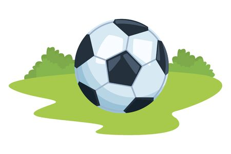 soccer ball icon cartoon ourdoor in the ground