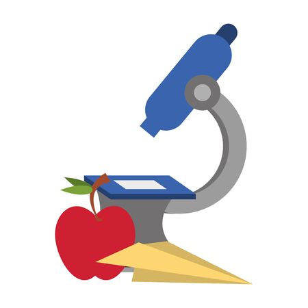 Back to school education microscope and apple with paper plane cartoons vector illustration graphic design