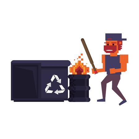 Retro videogame pixelated gangster with bat and barrel with trash can cartoons isolated vector illustration graphic design