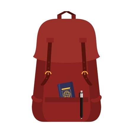 Backpack with passport and pen symbol Иллюстрация