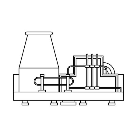 oil refinery gas factory industry petrochemical petroleum plant pipeline and distillation tank cartoon vector illustration graphic design Illustration