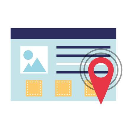 gps location digital pointer website window cartoon vector illustration graphic design
