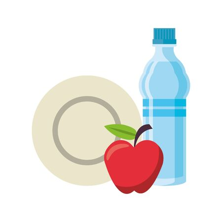 food and healthy life and apple water bottle plate symbols vector illustration graphic design