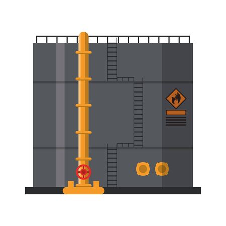 Petroleum oil refinery plant with with tank vector illustration graphic design Illustration