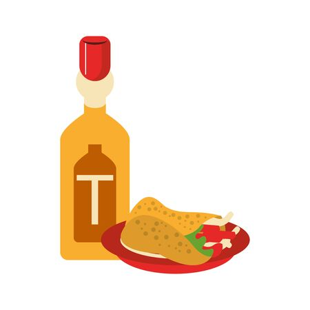 mexico culture and foods cartoons tequila bottle and burrito on plate vector illustration graphic design