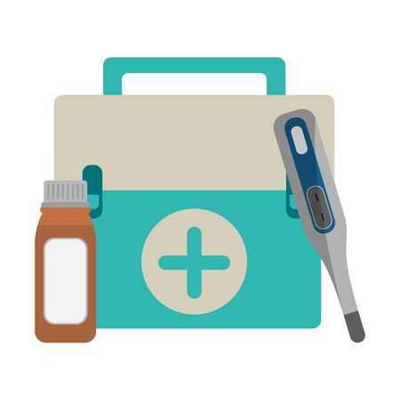 Medical equipment and supplies first aids suitcase thermometer and bottle vector illustration graphic design. 일러스트