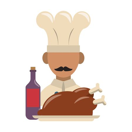 restaurant food and cuisine chef avatar with roaster chicken and bottle with wine icon cartoons vector illustration graphic design Stock Illustratie