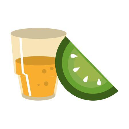 mexico culture and foods cartoons tequila bottle and glass cut lemon vector illustration graphic design Ilustração