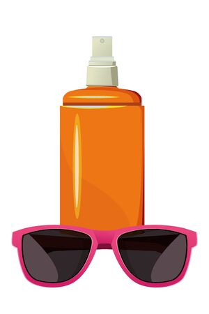 summer beach and vacation with sunscreen jar and sunglasses icon cartoon vector illustration graphic design Stock Illustratie