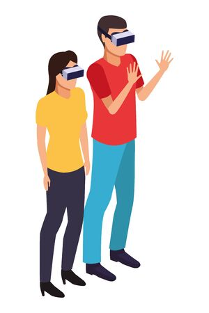virtual reality technology, young couple living a modern digital experience with headset glasses touching air cartoon vector illustration graphic design