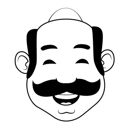 man with moustache, bald and big nose in black and white vector illustration graphic design