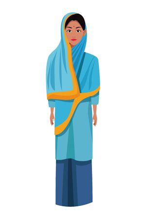 indian woman with hiyab wearing traditional hindu clothes profile picture avatar cartoon character portrait vector illustration graphic design Çizim