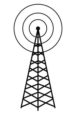 wireless internet and radio technology modern connection telecommunication antenna tower cartoon vector illustration graphic design Ilustração