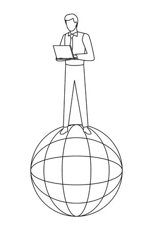 globe world sphere under a businessman with a laptop icon cartoon in black and white vector illustration graphic design