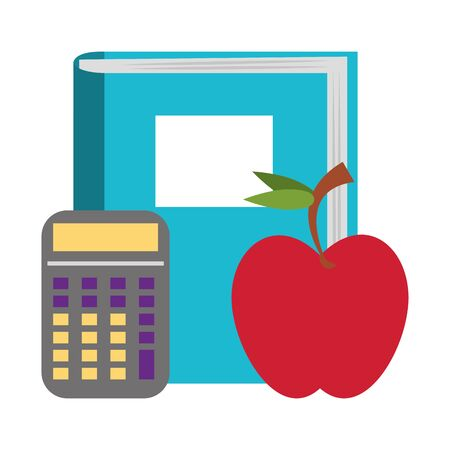 Back to school education book and apple with calculator cartoons vector illustration graphic design Çizim
