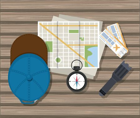 Travel and tourism elements hat wristwatch city map and lamp on table vector illustration graphic design