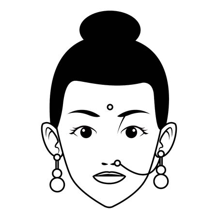 indian woman face with bindi and jewelry profile picture avatar cartoon character portrait in black and white vector illustration graphic design Çizim