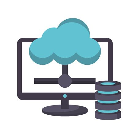 computer screen technology hardware with database tower uploading information to web cloud cartoon vector illustration graphic design