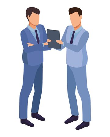 technology software businessmen with diary symbol vector illustration graphic design 일러스트