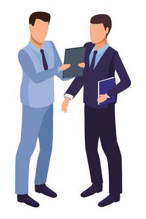 technology software businessmen with diary symbol vector illustration graphic design Illustration