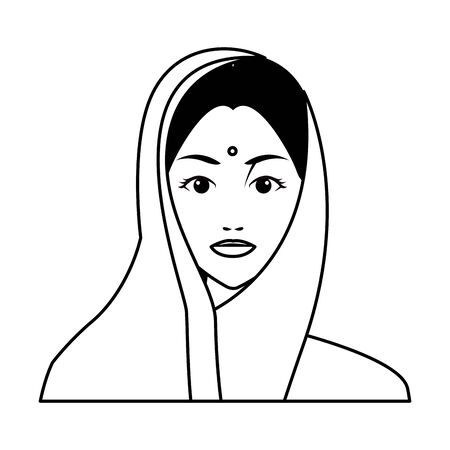 indian woman face with hiyab profile picture avatar cartoon character portrait in black and white vector illustration graphic design Çizim
