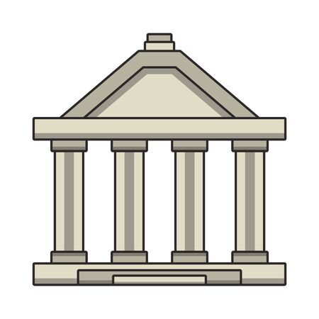 Bank building with columns symbol isolated vector illustration  イラスト・ベクター素材