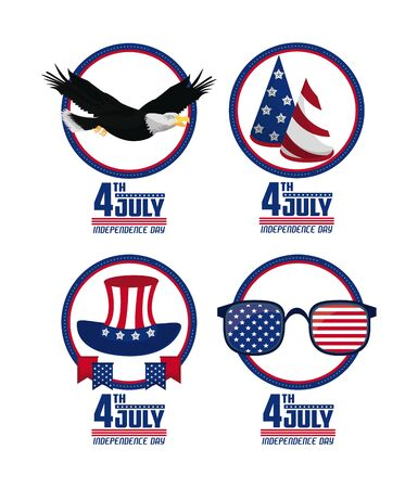 USA independence day set of round emblem cards vector illustration graphic design
