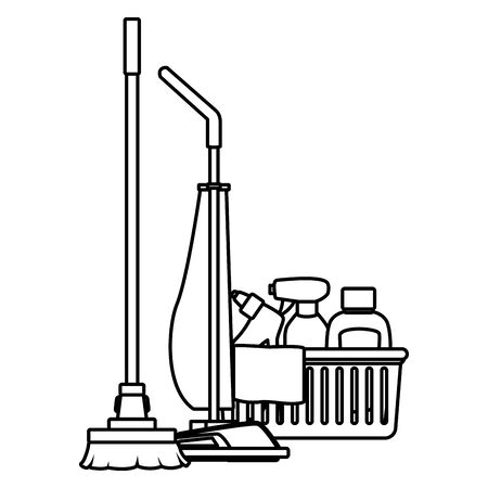 cleaning and hygiene equipment liquid soap, spray cleaner and cleaning shampoo into a cleanliness basket with a cloth, vacuum cleaner and broom in black and white vector illustration graphic design Illustration