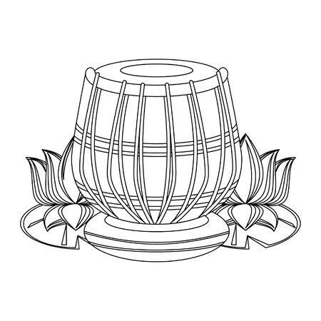 Indian tabla drums with lotus flower vector illustration graphic design