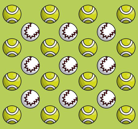 Sports equipment tennis yellow ball baseball stitched ball mosaic background fitness physical activity vector illustration graphic design