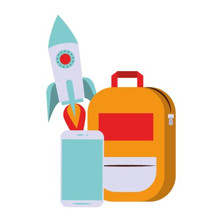 elearning and education backpack and spaceship with smartphone symbols vector illustration graphic design