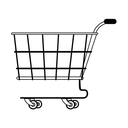 shopping retail sale store, shopping cart isolated cartoon vector illustration graphic design