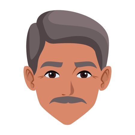 indian man face with moustache profile picture avatar cartoon character portrait vector illustration graphic design
