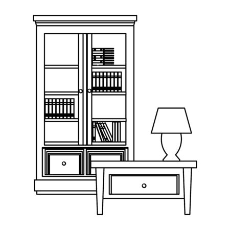 House wooden library and light lamp on drawer vector illustration graphic design
